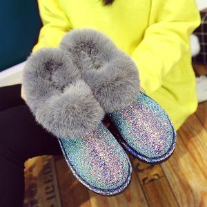 Los guisantes y las botas de los zapatos de la marca Otoño e invierno de las mujeres botas planas Corea nueva mujer de nieve botas de mujer de fondo plano de los estudiantes