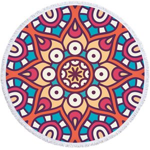 Nation Style Geometry Print Beach Towel 150cm Round Bath Towel Microfiber Tassel Shawl Tablecloth Picnic Mats Tapestry Bedspread