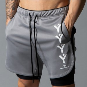 2019 NEW Men's Running Mens 2 in 1 Male double-deck Quick Drying Sports Jogging Gym Shorts men T200627