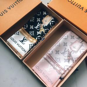 Nizza Qualität Damen ultra-dünne schmaler Taschengriff Seidenschal doppelt gedruckt Luxus-Modemarke kleiner Haarbeutel Band Seidenschals 120 * 8cm
