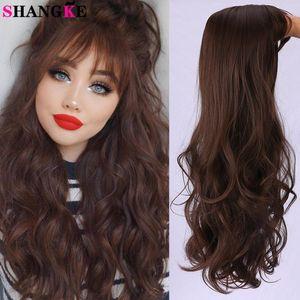 Shangke longas perucas sintéticas onduladas para as mulheres calor resistente a calor cor de chocolate marrom preto com bangs cosplay cabelo falso