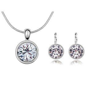 Circle Pendant Necklace Stud Earrings Women Wedding Jewelry Crystal From Fashion