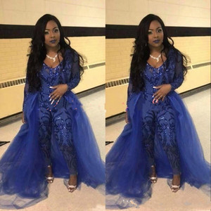 Trendy Jumpsuit Prom Dresses Pants Overskirt Long Sleeve Royal Blue Sequins Party Evening Gowns Robe De Soiree Celebrity Special Occasion