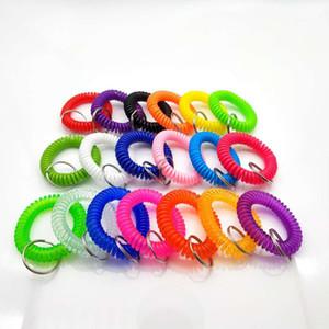 Wrist Band Coil portachiavi EVA molla di plastica anello Stretch Wristband portachiavi per Palestra Piscina distintivo di identificazione di modo del braccialetto chiave della mano del supporto della catena