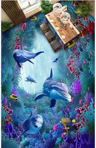 3d suelos de PVC con foto personalizada a prueba de agua de suelos autoadhesivos Mundo del mar de algas marinas de coral delfín salón del papel pintado de vinilo para paredes 3 d