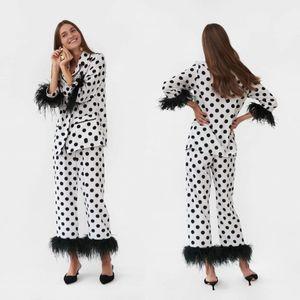 Womens Sexy Faux Fur Pajamas Lady Sleepwear 2020 Autumn Women Black Dot Bathrobe Nightgown Custom Made Robe Prom Bridesmaid Dress