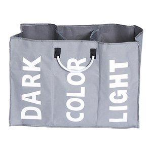 3 Section Folding Laundry Basket Washing Toy Storage Hamper Bin Bag Bathroom Dark grey