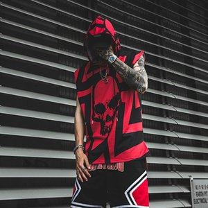 Orijinal Kolsuz Kafatası Baskı Erkek T Shirt Streetwear Kapşonlu Tshirts Gevşek Casual Hip Hop Oversize Yaz tişört