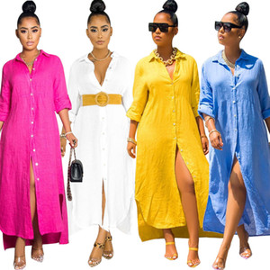 2020 Elegant Loose Long Shirts Dress Women Turn Down Neck Long Sleeves Buttons Front Split Casual Holidays Home Dresses 4 Colors New