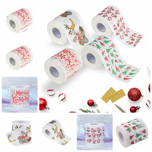 Christmas Household Wood Pulp Toilet Paper Christmas Santa Claus Printed Toilet Napkins Roll Paper Tissue Cartoon Table Decoration GGA1353