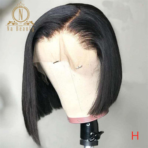 HD Transparent Lace Wigs Short Human Hair Wigs Stright Bob 13x6 Lace Front Wig For Black Women Remy Hair Pre Plucked Nabeauty