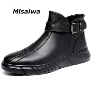 Misalwa Curto Homens Botas Inverno / Primavera Zipper Buckle Deslizamento-on Black Leather Botas Plataforma alta-top