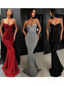 2019 Sexy Spaghetti Shinny Sequined Prom Evening Dress Cheap Mermaid Backless Party Dresses Forml Pageant Cocktail Gown 2174