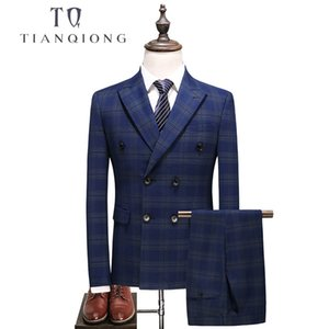 TIAN QIONG Mens Double Breasted Suit 2018 Slim Fit Blue Plaid Suit Men 5XL Plus Size Luxury Wedding Suits Business Formal Wear T200324