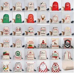 2019 Christmas Large Canvas Monogrammable Santa Claus Drawstring Bag With Reindeers Monogramable Christmas Gifts Sack Bags