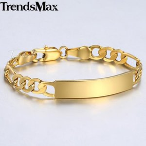 Trendsmax Baby's Bracelet Gold Filled Figaro Chain Smooth Bangle Link ID Pulsera para bebé niño niños niñas 5mm 11.5cm KGBM100