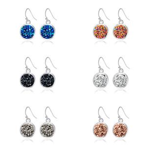 Mode 6 couleurs druzy drusy boucles d'oreilles plaqué argent carré géométrie faux pierre balancent boucles d'oreilles pour femmes bijoux