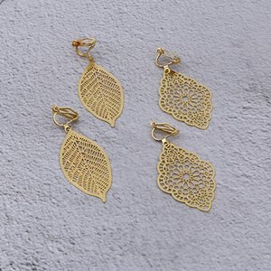 2019 Simple Punk Fashion Gold Metal Hollow Leaf Party Clip on Earrings Without Piercing for Women Party Charm No Hole Ear Clip