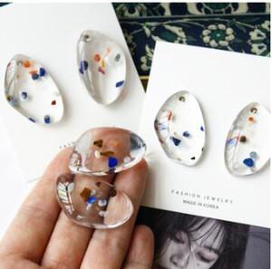 Женская Новые Сладкая Геометрическая Нерегулярное Прозрачный акриловый Water Drop серьги партия ювелирных подарков для девочек