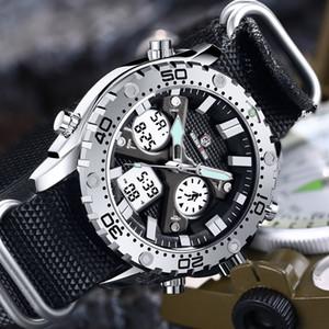 العرض GOLDENHOUR رجال المزدوج ساعات الكوارتز أزياء قماش ووتش الشريط الرياضية ذكر توقيت ساعة اليد