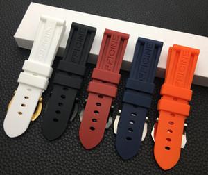 22mm 24mm 26mm Preto Azul Vermelho Laranja Branco Pulseira de relógio Pulseira de borracha de silicone Substituição para Panerai Strap Tools Fivela de aço T190620