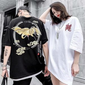 free shipping Mens oversize cotton T Shirt Mens Clothing crane print Summer T Shirt Hip Hop Men Women Short Sleeve Size S-2XL plus size