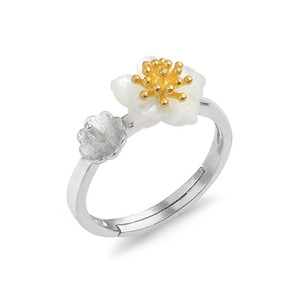 Pearl Ring Mount 925 Серебряное кольцо Настройки дизайн Белый Shell цветок Золотой Пыльца 5 шт
