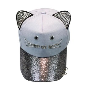 Cute Cat dell'orecchio Donne Cap paillettes Bling Ring Patchwork regolabile signore adulti Baseball Cap Hat Hip Hop piatto Cappello A Donne 2020