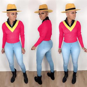 Sonbahar Bayan Tasarımcı Panelli Tişörtleri Moda Çizgili Baskılı Ince Kadın Tees Casual Bayanlar Zip Boyun Tops