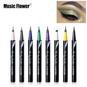Музыка Цветок Марка Shimmer Eyeshadow Liquid Eyeliner Pen макияж Водонепроницаемый Долговечность грушевидной блеск глаз Liner Карандаш Косметика