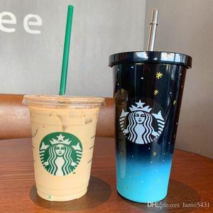 Starbucks verano estrellada taza de café cielo paja del color del gradiente 16 oz de acero inoxidable taza de agua fría en el coche de la puerta hacia fuera taza Acompañando portátil