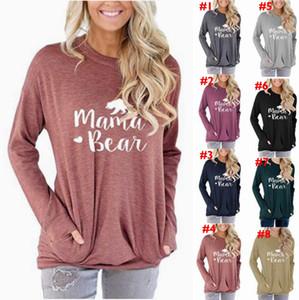 ماما الدب هوديي 8 ألوان المرأة رسالة مطبوعة كم بلوزات طويلة عارضة الصلبة قميص اللون الجيب القمم LJJO7140-1