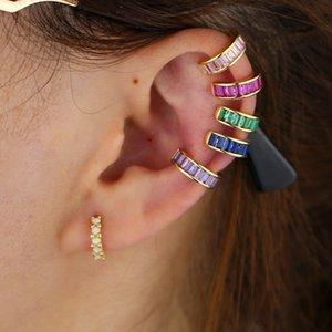 1 piece no piercing clip on earring bezel baguette pastel rainbow cz circle ear cuff earrings for women