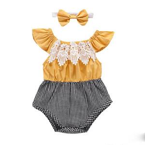 Bébé Filles Barboteuses Bandage Arc Élastique Imprimé Jumpsuit Infant Toddler Vêtements Jaune Flying Sleeve shirt + Papillon Noeud Bandeau CostumeC11