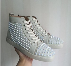 Elegante Designer Scarpe Casual Donna Uomo Sneakers glitter Spikes Fondo rosso Scarpe da ballo Amanti da matrimonio in pelle Sneakers in pelle All White