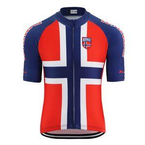 2020 NOUVEAU Norvège Maillot cyclisme pro usure de l'équipe de vélo rouge bleu d'été des hommes de vitesse en tête route / VTT chemise lycra de haute qualité en jersey de poche réfléchissante