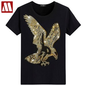 England Style Fancy Tshirt Man Diamond Print Short Sleeve T-shirt Men's fashion Summer Rhinestone eagle Design Bottom T Shirts MX200508