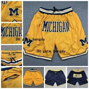 Мужские шорты Мичиганнба Профессиональный спорт Аутентичные Gym Бег Вышивание Баскетбол шорты Фитнес штаны в наличии Бесплатная доставка