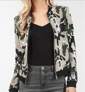 Neck Long Sleeve Ladies Coats Spring Designer Women Outwear with Zipper Fashion Camouflage Printed Womens Jackets Crew