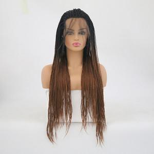 Radici intrecciato merletto anteriore parrucche Ombre Brown termoresistente Fibe dei capelli per le donne di Glueless nero Twist sintetica Lacefront parrucca Ombre Con scuri