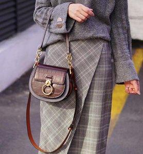 Designer- Tess Purse Women Croco Handbag Hot Sale Shoulder Genuine Saddle Crossbody Bag For Saddle Bracelet New 2021 Embossed Leather W Hjld