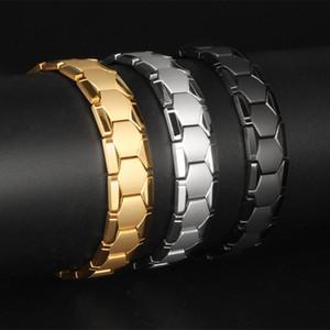 Europa dominadora homens pulseira de titânio de aço de ouro pulseira de radiação de saúde pulseira ímã de uma geração de DGS35 gordura