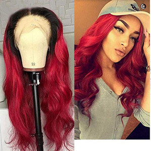 Ombre Burgundy 1B Red 360 Lace Front Wigs Human Hair natural Wave Brazilian Remy Glueless Pre Plucked full lace wig with Natural Hairline