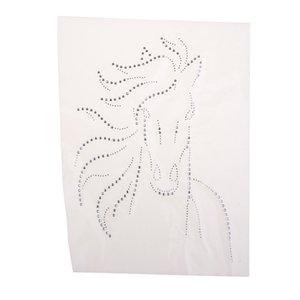 실버 블링 동물 말 헤드 패턴 전사 용지 핫픽스 라인 석 디아 t- 셔츠 전송 새해 그림 패치 - 아이언에 쉽게