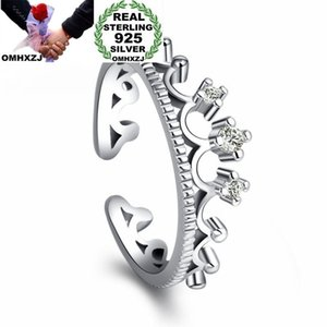 OMHXZJ Wholesale Personality Fashion Woman Girl Party Wedding Gift White Crown 925 Sterling Silver Ring RN148