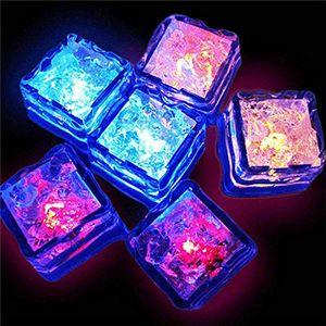 Cubos de gelo LED multi colorido com luzes mudando luzes coloridos sensivelizando nightlight LED flash bloco de gelo