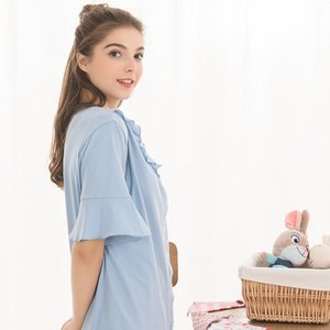 Summer Cotton Dresses for Pregnant Women Ruffle Lapel Maternity Nightgown Button Breastfeeding Nursing Night Dress Home Clothes