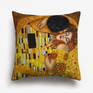 11 Styles Oil Painting Gold Luxury Decorative Cushion Covers Gustav Klimt Animal Horse Tree Cushion Cover Sofa Linen Pillow Case