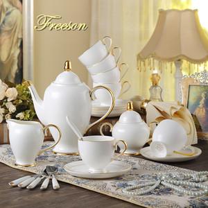 Grâce Bone China Café en or blanc serti de porcelaine à thé avancée Pot en céramique Tasse Sucrier Creamer Teapot Pot à lait Teaset