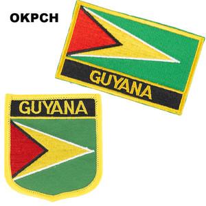 Bayrak Yamalar Ulusal Bayrak Patch üzerinde Guyana Nakış Demir Giyim için DIY Dekorasyon PT0071-2